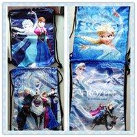 Wholesale 45cm cm Frozen Drawstring Backpack Nylon Large Storage Bag Elsa Anna Olaf Children School Bag High Quality Shopping Bag
