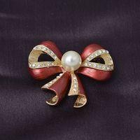 Wholesale Fashion Faux Pearl Rhinestone Enamel Bow Bowknot Brooch Pin Gold Tone Jewelry For Women Girl Gift