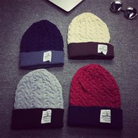 Wholesale Fall winter days new Korea spelled color fabric twist wool Cap City boy ladies knit hat