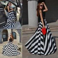 Wholesale 2015 Fashion black lace A line casual work prom dresses Cheap high waist stripes floor length hot sale formal evening gowns party dresses