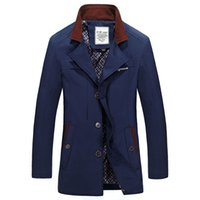 Wholesale Fall mens trench coat autumn and winter Plus size clothes XL windbreaker jacket Mens clothing