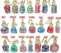 Wholesale 15 ml Car hang decoration Ceramic essence oil Perfume bottle Hang rope empty bottle random colors styles
