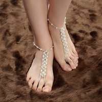 beaded sandles - 2015 Shining Peral Beaded Ankle Jewelry Hot Selling Beach Bridal Sandles Barefoot Bridal Sandles Leg Accessory Foot Decoration