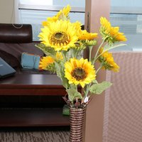 beautiful home office - 3heads bouquet Beautiful Design New Artificial Sunflower Silk Flowers Home Office Garden Decor Hand Made For Decoration