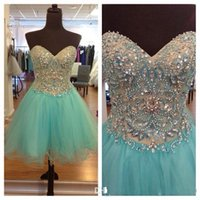 Cheap Short Tulle 2015 Cocktail dresses Beaded Crystals A Line Sweetheart Sleeveless Bandage Girl Mint Green Formal Homecoming Gowns Made In China