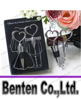 wine opener set - New100sets Wine Bottle opener Heart Shaped Great Combination Corkscrew and Stopper Heart Shaped Sets Wedding Favors Gift LLYA17