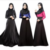 Wholesale Dubai Middle East Arab robes Mushi Lin apparel Malaysia national wind spell color long sleeved dress loose dress