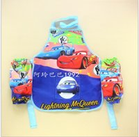 kids aprons - Retail Children kids boys girls cartoons Aprons Sanitary Waterproof aprons Cars Paiting Children Cover Up with sleeves cover