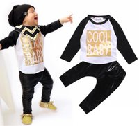 leather clothes - 2016 Hot Toddler Baby Boy Clothing Set Print T shirt Leather Pants Leggings Outfits Suit