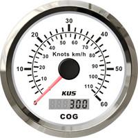 Wholesale 85mm diameter GPS speedometer speedo face gauge V V stainless steel white faceplate knots for boat yacht