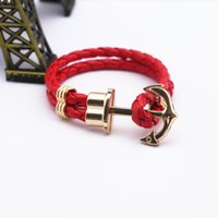 best friends jewellery - Man Women Jewellery Best Men Bracelets Multi Color Male Anchor PU Leather Bracelet Bangle For Friend Gift Pulseira Homens