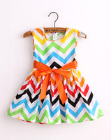 Wholesale cute cotton print baby girl dress kids dress girls princess ribbon dresses vestidos children clothes QZ141201