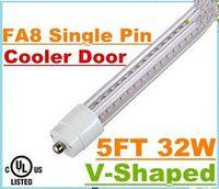 T8 32W SMD 2835 Super Bright 32W T8 Led Tube Light 1500mm 5FT Cooler Door V-Shaped Single Pin FA8 Led Tubes Lamp Warm Cold White AC 85-265V + UL cUL