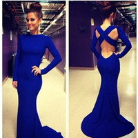 occasion dresses - Amazing Cheap Prom Dresses With Crew Long Sleeves Cross Straps Back Long Sexy Royal Blue In Stock Evening Party Occasion Gowns LF015