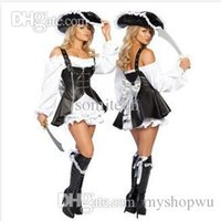 bandit queen - Leather Pirate Costume Pirates Female Bandit Leader Queen Costume Halloween Party Cosplay Costumes fantasias femininas COS053
