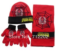 Wholesale Scarf hat gloves piece set spiderman boys autumn and winter thermal products