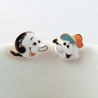 enamel paint - Cute Popeye Enamel Painted Stud Earrings High Quality