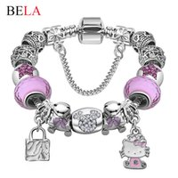 Cheap Wholesale-Valentine's Gift Murano Glass&Crystal Bead Fit Original Kitty Charm Bracelets Bangles For Women Girls Lovely Fine Jewelry