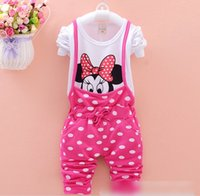 boys clothes - 4 Color Autumn New Children Clothes Baby Girls Suits Minnie Mouse T shirt Suspender Trousers Comfortable Girls Fashion Sets K4788