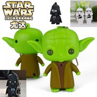 Wholesale Free DHL Star Wars Galactic BattleGrounds Saga Darth Vader Key chain Master Yoda key ring cartoon LED shine light music keychain B260