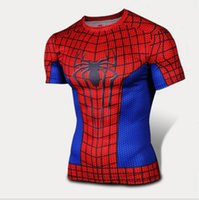Wholesale new arrival Black and Red Spider Man Compression t shirts Under Base Layer Sports Wear Running shirts Tights Slim Fitness wear