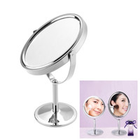Wholesale Double Sides Normal Magnifying Oval Stand Mirror Ellipse Mini inch Lady Make Up Cosmetic Mirror w756