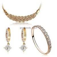 Wholesale Top fashion K gold plated and silver plated AAA zircon full CZ diamond pendant necklace earrings and bracelets women jewelry suit z094