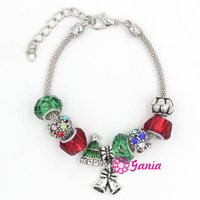 bar bell set - New Arrival Christmas Jewelry European Charms Christmas Tree Bell Charm Bracelets for Xmas Christmas Gift Jewelry