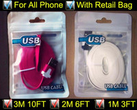 Wholesale 3m ft m ft m FT Noodle Flat Micro USB Cable Cables Cord Cords USB Charger V8 Charging Line for Android Samsung All phone