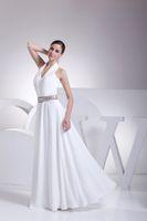 beach diy - Maternity Halter Deep V Neck White Chiffon Bead Waist Floor Length DIY Maxi Beach Wedding Dresses Casual Summer Collection