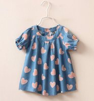 Wholesale Long Style Blouse Patterns - 2016 Baby Kids Clothing Girls Denim Peach Pattern Tee Children Heart Dresses Shirts Cowboy Korean T-shirts Tees Shirts D7121