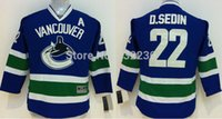 assured homes - Factory Outlet quality assured Kids New Vancouver Canucks Jerseys Daniel D Sedin Jersey Ice Hockey Home Blue Away White
