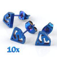 blue stainless steel earring - 10pc Blue Stainless Steel Superman Ear Stud Men s Earrings Punk Jewelry