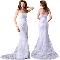 Wholesale Cheap Grace Karin Luxury Strapless Lace Embroidery Sheath Wedding Dress Mermaids Long Bridesmaids Dress with Sashes CL2527