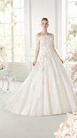 off white lace bridal wedding dress - 2015 Off The Shoulder Wedding Gowns A line Corset Appliques Lace Bridal Dresses White Tulle Dress For Brides Manufacturer Abiti Da Sposa