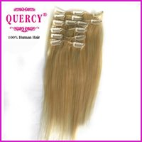 Wholesale Clips in hair extensions straight Indian Malaysian Peruvian virgin hair remy human hair bundles B clips set off Quercy Hair