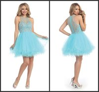 aqua homecoming dresses - 2015 Homecoming Party Dresses Aqua Sheer Jewel Neckline Illusion Back Beaded Tiered Tulle Formal Cocktail Dress Short Prom Sweet Gowns