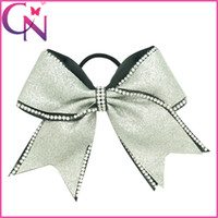 band fix - 20 inch Large Glitter Cheer Bows Hot Fix Rhinestone Girls Kids Double Layers Cheerleading bows With Elastic Band
