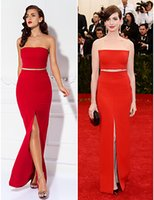 anne hathaway picture - Anne Hathaway Red Dresses Evening Prom Strapless Sleeveless Sheath Floor Length With Sash Front Slit Red Carpet Gown Celebrity Vestido WWL