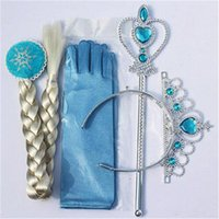 Cheap Frozen Princess Elsa Anna hair accessories Queen Crown+wig+magic wand+glove Girls cosplay Jewelry Set children costom party accessory