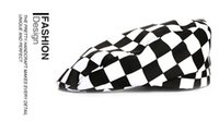Wholesale The Cafe Attendant Hat Men s and Women s Black and white plaid Chef Beret Hat
