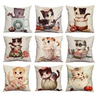Wholesale New Home Textiles Cartoon Cat Chair Pillow New Cojines Personality Car Sofa Bedding Supplies Cushion Cute Seat Cushion Without Fillers