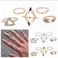 Wholesale 2015 hot selling ring plated Stacking midi Finger Knuckle rings Charm Leaf Ring Set Diamond triangle fashion ring NO A set