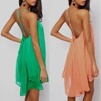 european clothing - New Women European Clothing Sexy Colorful Cross Strap Backless Dresses Casual Chiffon Ladies Beach Summer Dress Hot