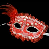 beauty school supply - Christmas masquerade masks Venetian beauty supplies goggles red lace feather pearl