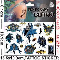 Wholesale Batman Super hero The Avengers Anime Cartoon Temporary Tattoos kits Stickers Body Stickers For Women Men Baby Children Boy Girls Children