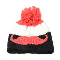 beanie with beard - Winter Fashion Beanies Knitting Hat Outdoor Warm Crochet Knitted Caps Acrylic Woolen Thicker Sweater Cap With Embroidery Beard Pattern H117