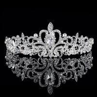 Wholesale In Stock Shining Beaded Crystals Wedding Crowns Bridal Crystal Veil Tiara Crown Headband Hair Accessories Party Wedding Tiara