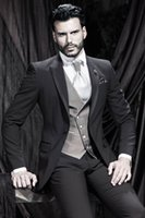 MENS JACKETS - New Designer Modern One Button Charcoal Customized Mens Suit Groom Tuxedos Slim Fit bridegroom and Groomsman Suit Jacket Pants Tie Vest