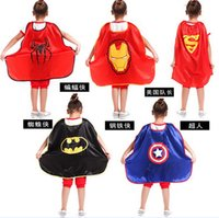 batman mantle - Avengers Dress smock Children s day show clothing Halloween children Batman Superman Captain America spiderman iron man cloak mantle